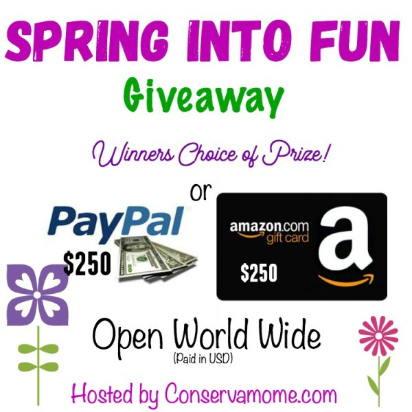 $250 Amazon/PayPal Spring into Fun Giveaway – Your Choice!