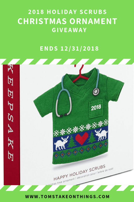 2018 Happy Holiday Scrubs Christmas Ornament Giveaway Ends 12/31/2018