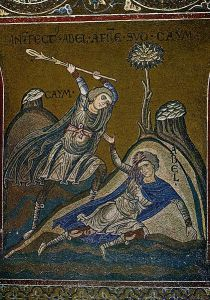 The murder of Abel -Cathedral of Monreale Byzantine mosaic
