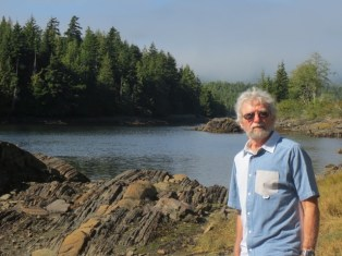 Tom Wayman at Galloway Rapids, outside of Prince Rupert, 2016