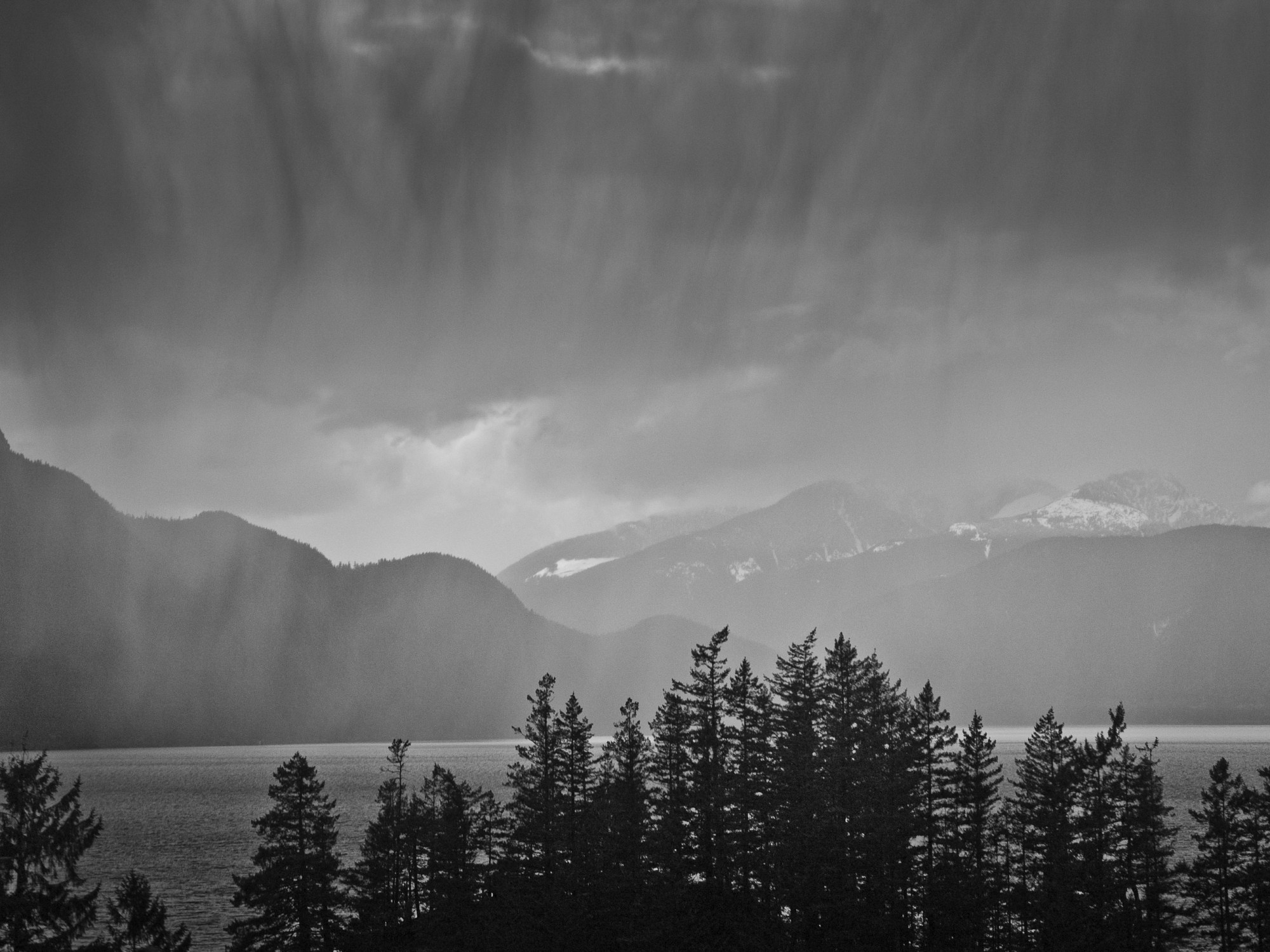Rain over Howe Sound