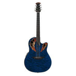 Ovation Guitars Celebrity Elite® Exotic CE44P-8TQ Caribbean Blue On Exotic Quilted Maple
