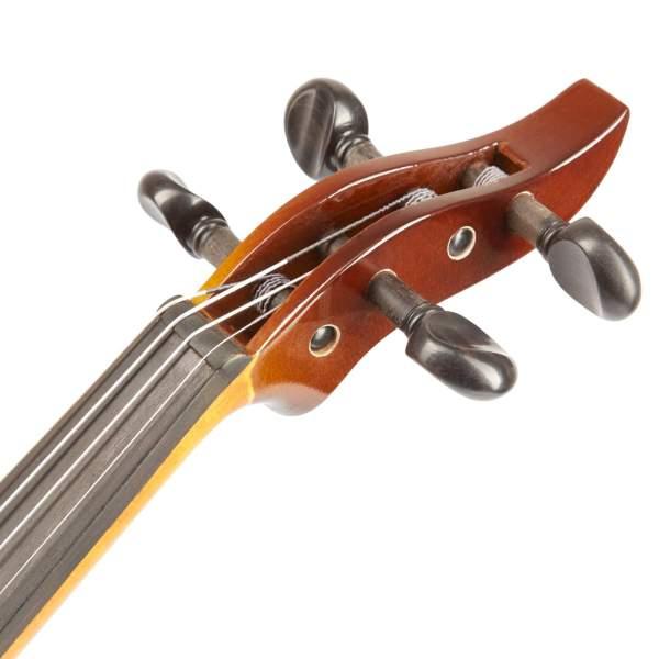 Produktbillede af hovedet på en el-violin med hvid baggrund