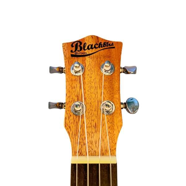 Produktbillede af hovedet på en baryton-ukulele med hvid baggrund