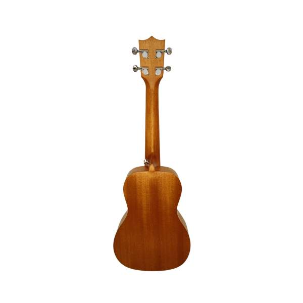 Produktbillede af bagsiden på en koncert-ukulele med hvid baggrund