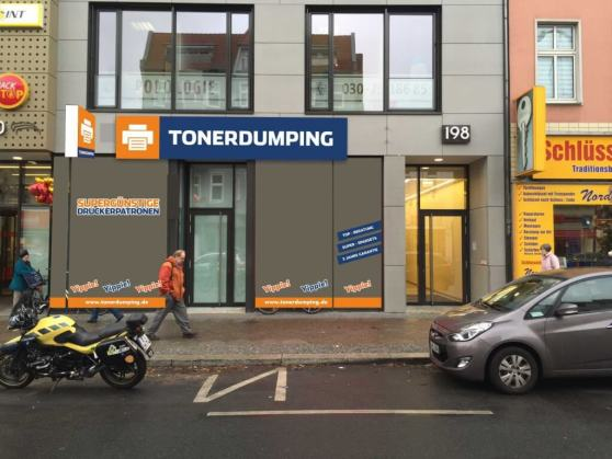 Noch ist es eine Fotomontage, aber so ähnlich wird er aussehen, der neue TONERDUMPING-Laden am Tempelhofer Damm 198.