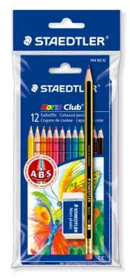 12 Buntstifte, 1 Bleistift und 1 Radiergummi für 1,99 €