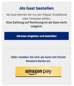 Neu: Bestellen als Gast oder mit amazon pay