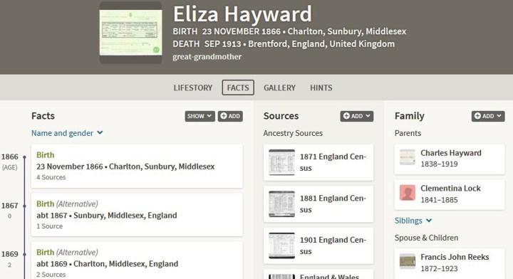 Ancestry Eliza Hayward