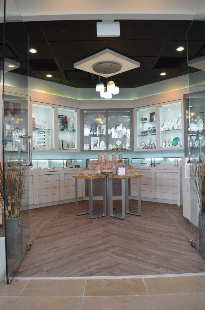 The original glass doors were kept and give the 600 square foot store a feeling of openness.