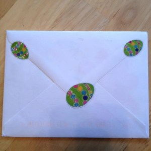 Envelope from Grandma with egg stickers