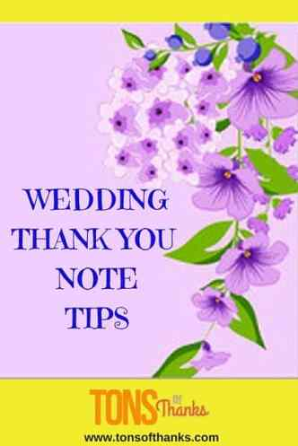 Wedding thank you note writing tips
