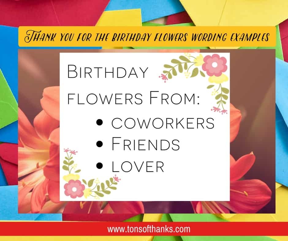 Thank you for the birthday flowers wording examples