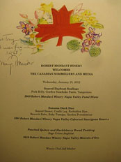 Margrit Mondavi's menu design