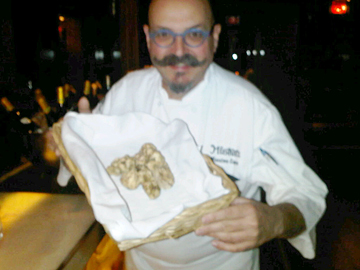 Chef Massimo Capra displays his truffles