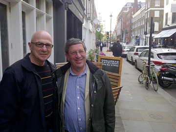 Tony with Steven Brook outside Vinoteca, Seymour Place, London