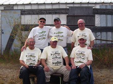 The guys outside Pigpen: (standing l-r) Art, Steve, Cliff; (seated) Harold, Bud, Tony