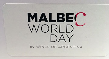 stick-on label saying MALBEC WORLD DAY by WINES OF ARGENTINA