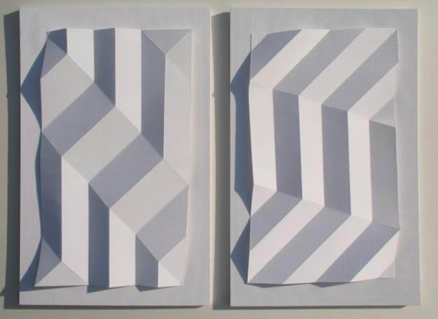 Flute Paperfold 4 (Pair of Diagonals) - flute paper and Mountboard, 45 x 30 x 5cm x 2 units, 2009