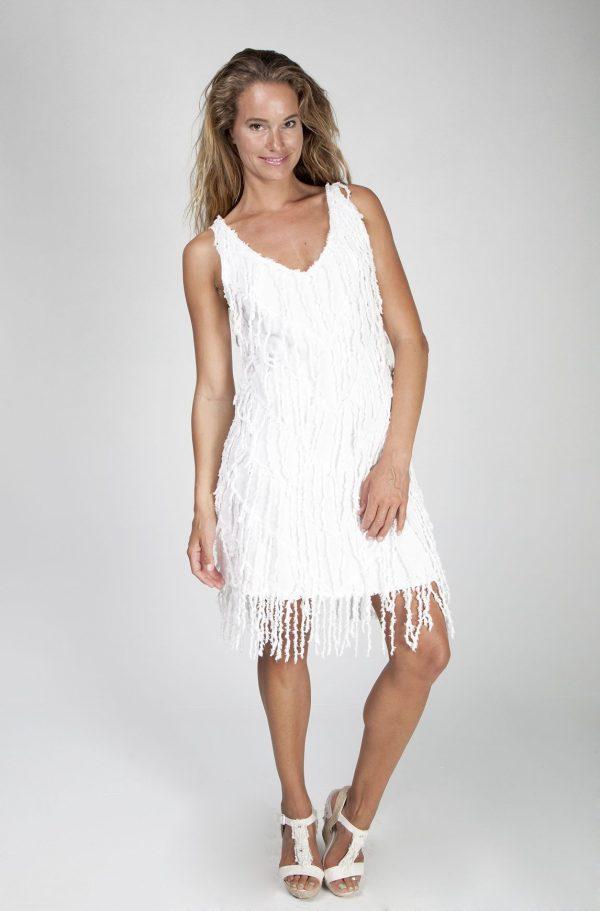 Vestido corto con flecos - Tony Bonet Adlib Ibiza