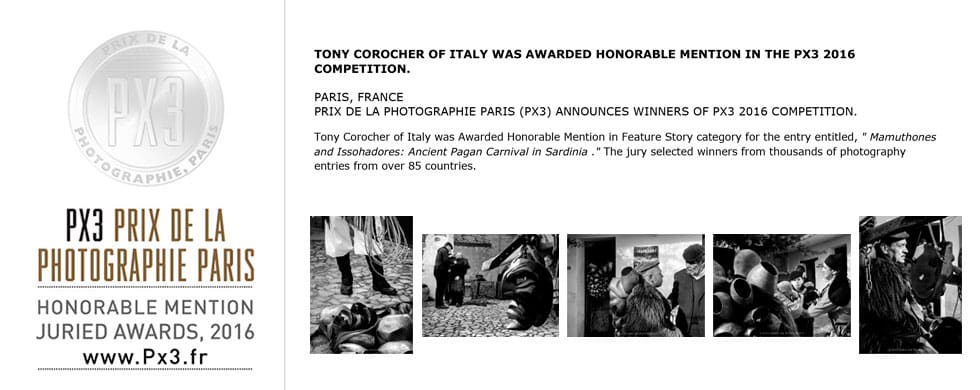 PX3 CERTIFICATE, Px3 Paris, Prix de la Photographie Paris, Tony Corocher, Awards, press release