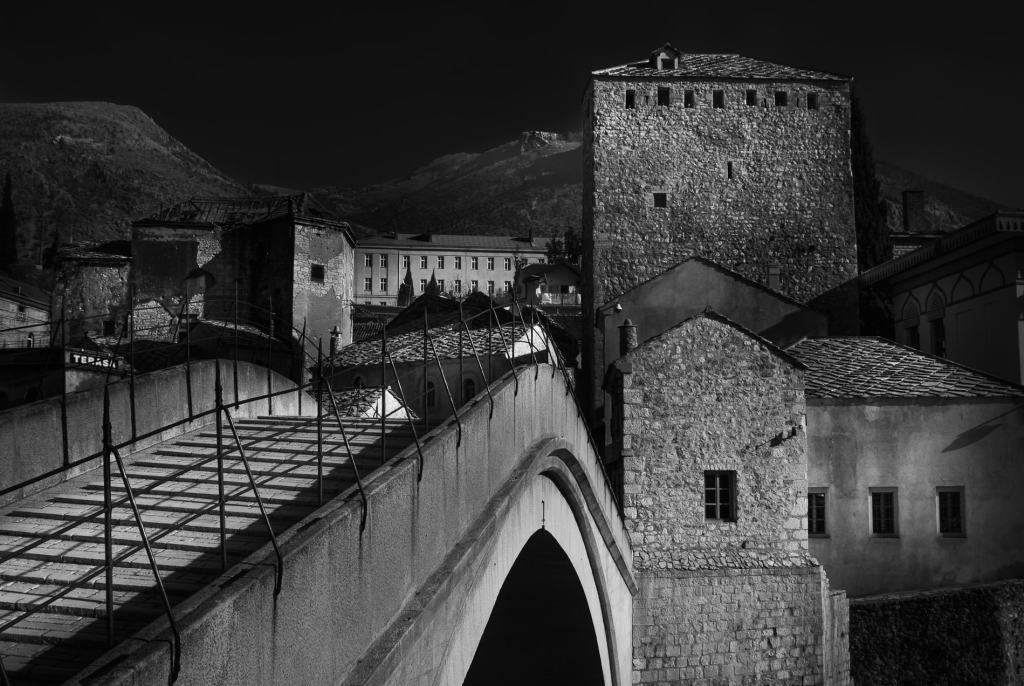 Looking across the 'Old Bridge', Mostar, Bosnia and Herzegovina