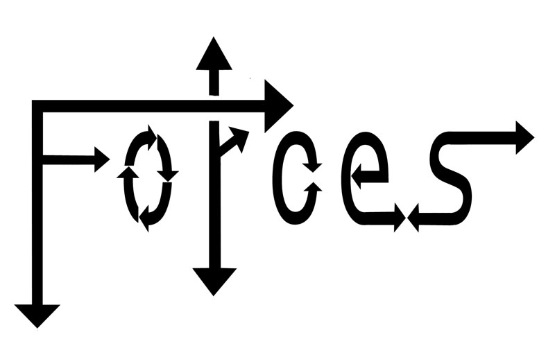 "image showing the word ""Forces"" with arrows making up the letters."