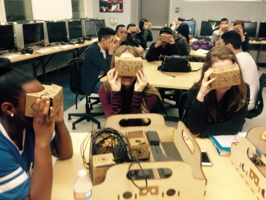 Image of students in Mr. Farley's class taking a Google Expedition