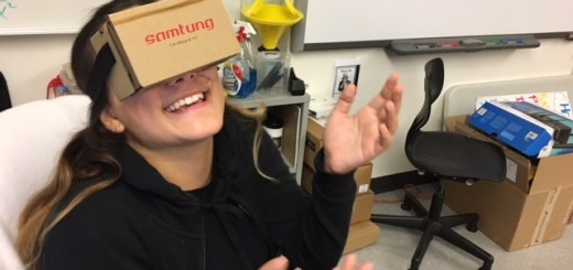image of my student Michelle with VR glasses