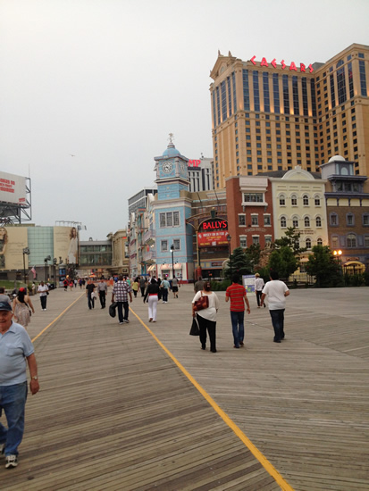 Once again walking the boardwalk at Atlantic City.