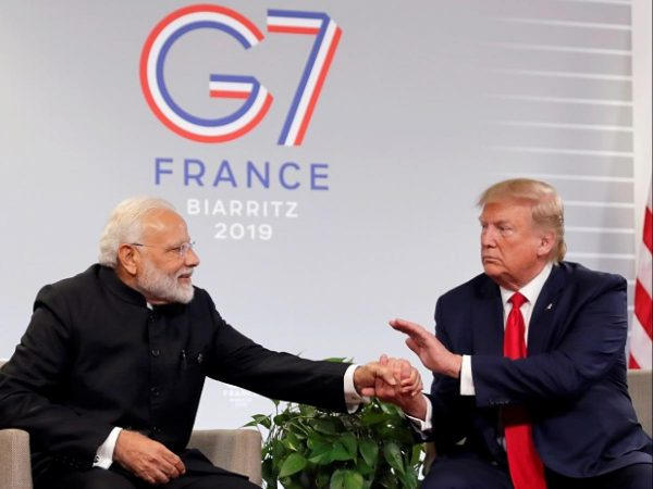Trump & Modi Shaking hands at the G7 Summit