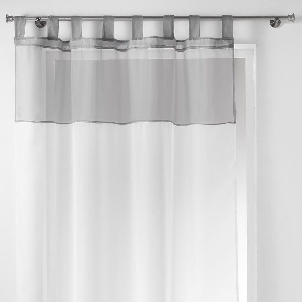 duo two tone tab top voile curtain panel white grey