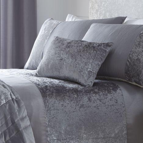 Boulevard Crushed Velvet Grey Boudoir Cushion Tonys Textiles
