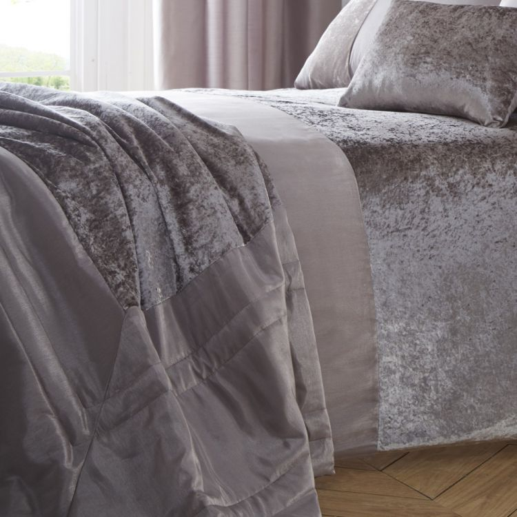 Boulevard Crushed Velvet Mink Bedspread Tonys Textiles