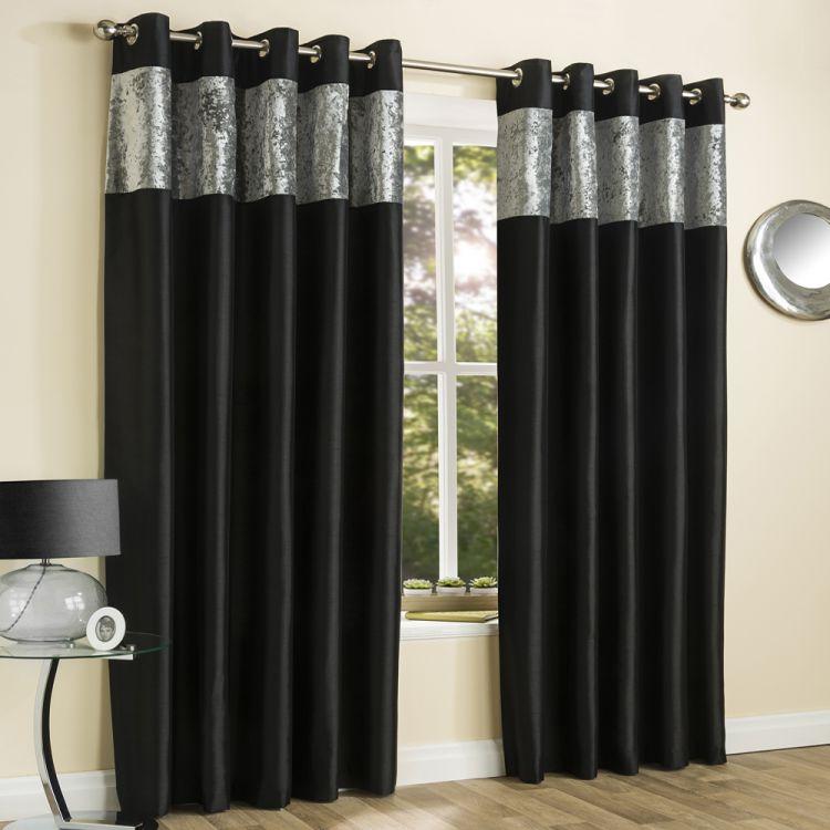 Amalfi Black Crushed Velvet Eyelet Curtains