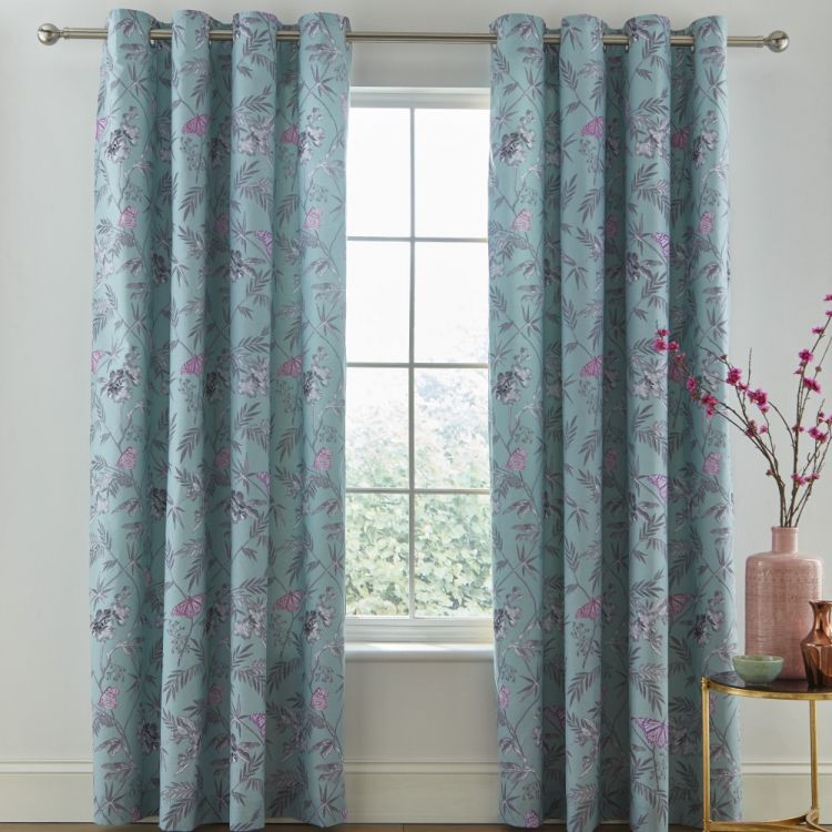 Catherine Lansfield Oriental Butterfly Curtains Duck Egg Blue Tonys Textiles