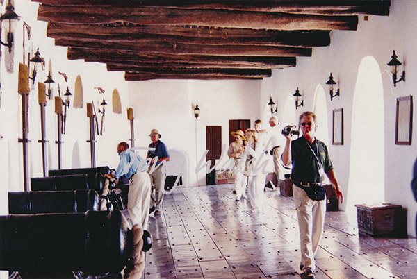 Jalali Fort Cannon platform with tour group