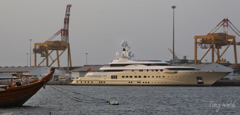 David Geffen's beautiful yacht Pelorus in Mina Sultan Qaboos