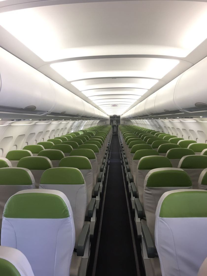 Salam Air Interior - Green and White - not the cleaners choice I guess