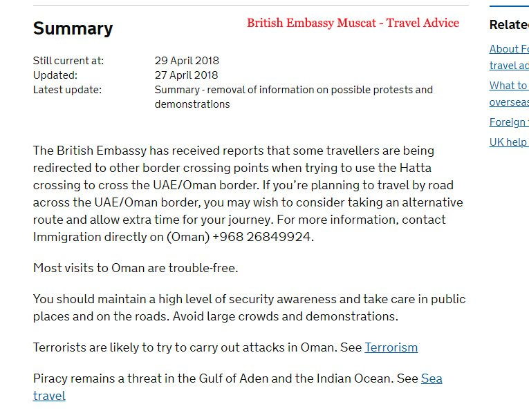 British Embassy Muscat Travel Advice denied entry to oman from abu dhabi