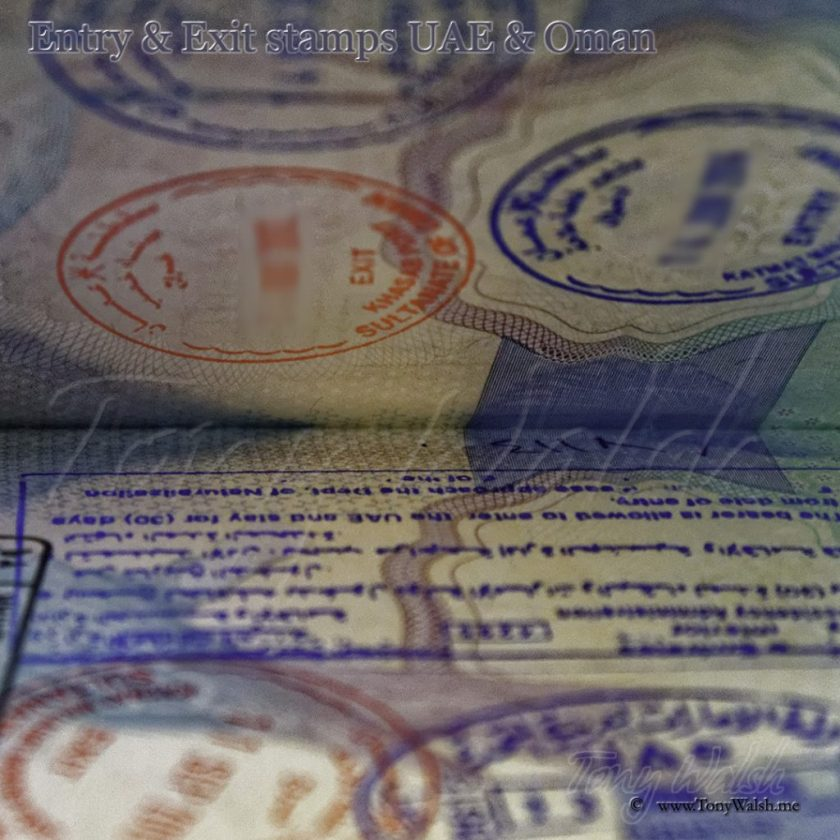 Oman Tourist's Insurance Visa Entry & Exit stamps UAE & Oman