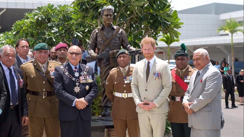 Prince Harry unveils statue of SAS Battle of Mirbat hero Sergeant Talaiasi Labalaba Credit Kensington Palace Twitter