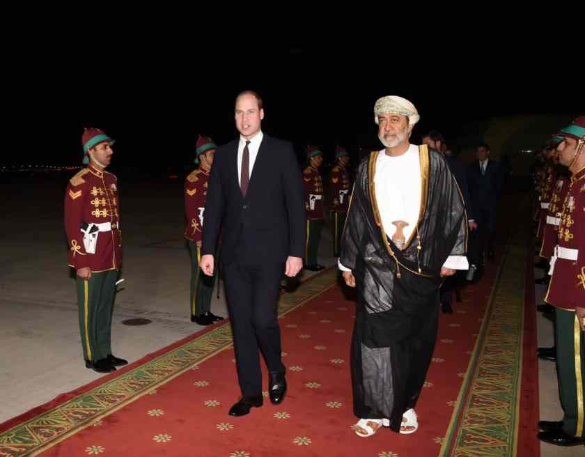 Prince Wiliam arrives in Muscat and is met by His Highness Sayyid Haitham bin Tariq al Said