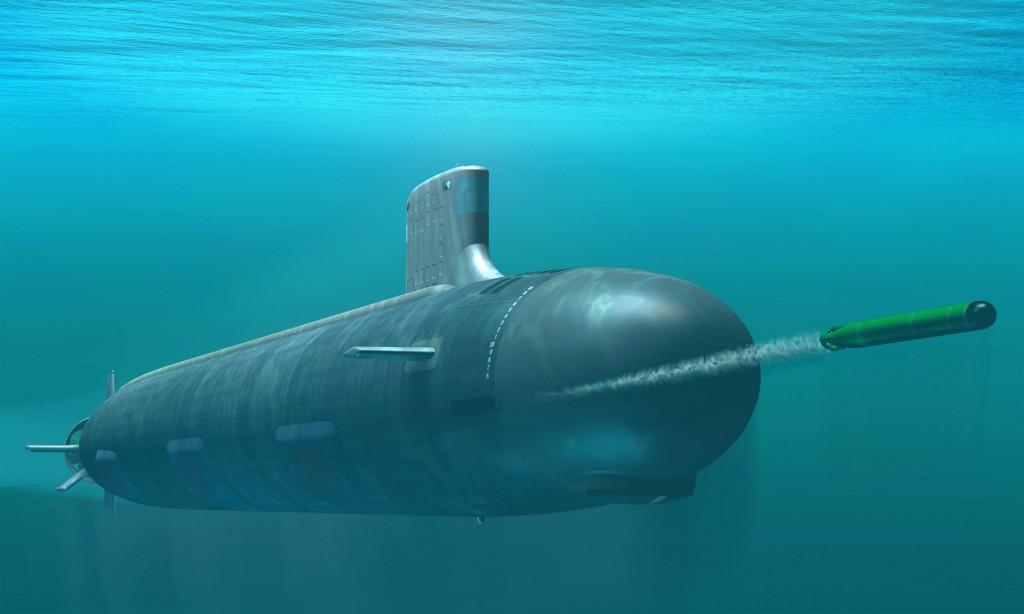 SSN 774 Virgina Class Submarine firing a torpedo