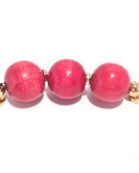 Accent: 3 large red wood beads with gold accent
