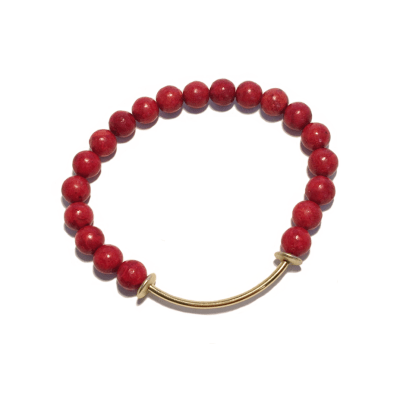 Red Bamboo Coral Tiny Tookey Bracelet with gold accents