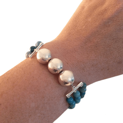 5-3-1 silver and turquoise bracelet on arm