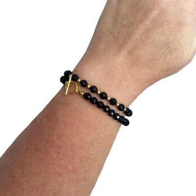 SET Simply Elegant Black Onyx Bracelets on arm