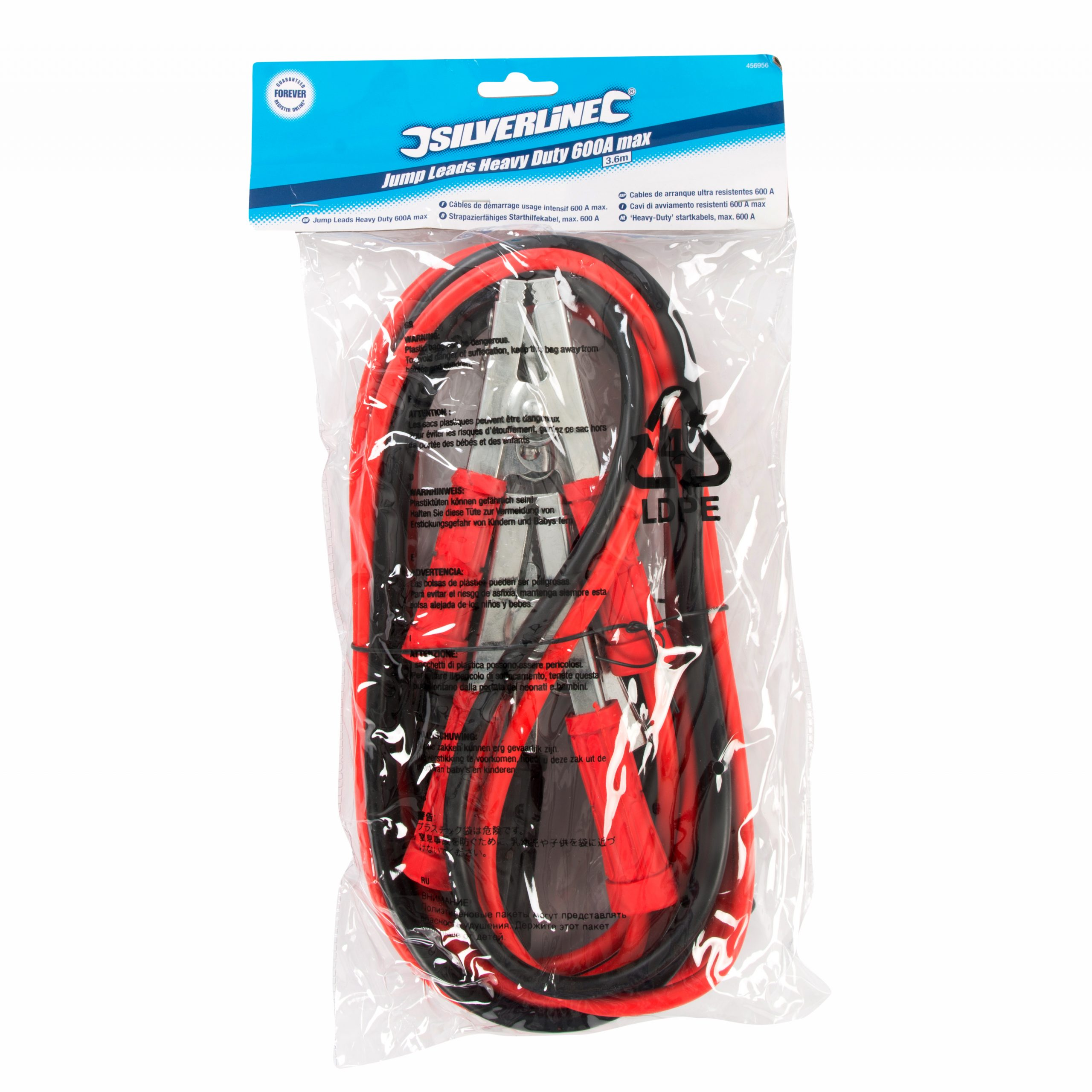 Jump Leads 600A max 3.6m PVC-Insulated Cable for efficient Power Conduction with Fully Insulated Spring-Loaded connectors Suitable for Vehicles with a Battery Start-up Power of up to 600A.