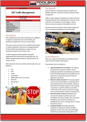 traffic management toolbox talk